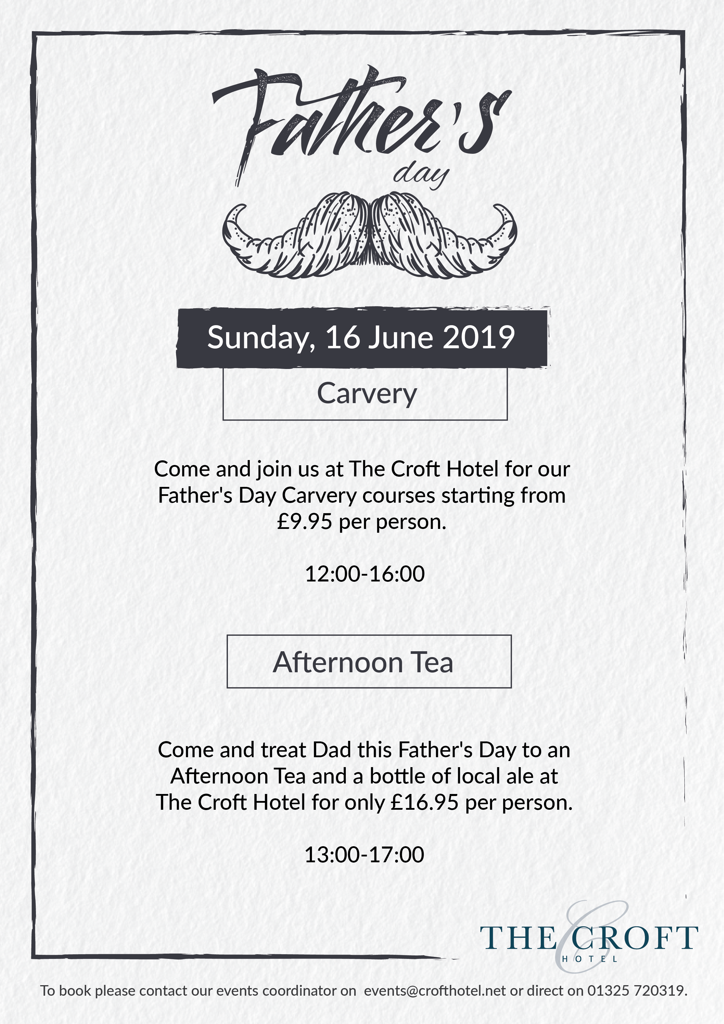 Events for Father's Day in Darlington - The Croft Hotel